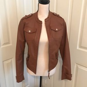 Brown faux leather jacket